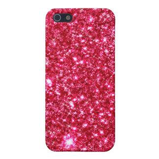 hot pink fuchsia tiny sequin glitter print iPhone 5 cases