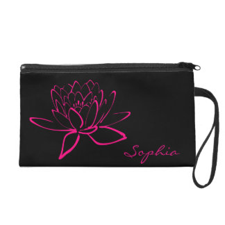 Hot Pink Fuschia Lotus Flower Name Monogram Purse