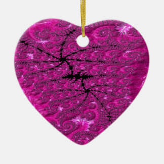 Hot Pink Fusion Fractal Ceramic Ornament