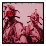 Hot Pink Gas Masks Posters