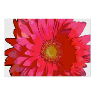 Hot Pink Gerbera Daisy Canvas Poster
