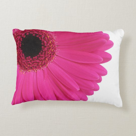 Hot Pink Gerbera Daisy Close-up Decorative Pillow