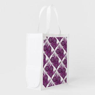 Hot Pink Gerbera Daisy Flower Bouquet Reusable Grocery Bag