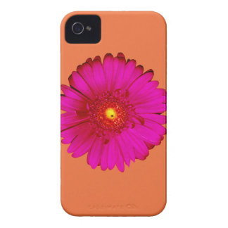 Hot Pink Gerbera Daisy on Orange iPhone 4 Case-Mate Cases