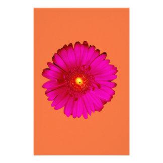 Hot Pink Gerbera Daisy on Orange Stationery
