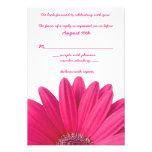 Hot Pink Gerbera Daisy White Wedding RSVP Card Custom Announcement