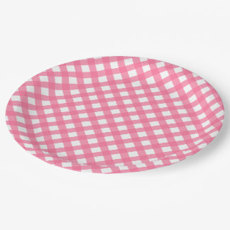 Hot Pink Gingham Paper Plates