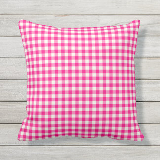 Hot Pink Gingham Pattern Outdoor Pillows