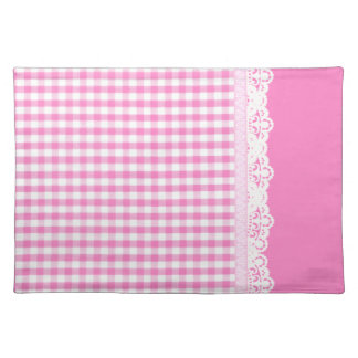 Hot pink Gingham pattern Placemat