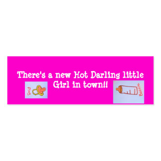 hot pink girl bookmarks mini business card