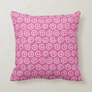 Hot Pink Girl's Bedroom Swirl Pattern Pillow