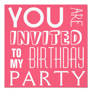 Hot Pink Girl's Birthday Party Text Card