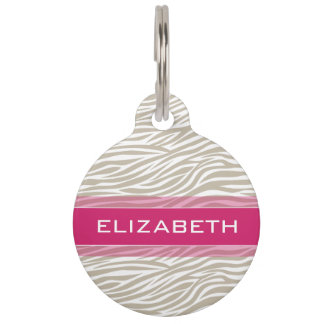 Hot Pink Girly Zebra Stripe Pattern with Name Pet ID Tag