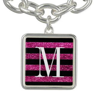 Hot Pink Glitter and Black Stripes Charm Bracelet
