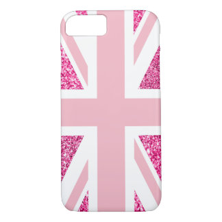 Hot Pink Glitter and Light Pink Union Jack Case-Mate iPhone Case