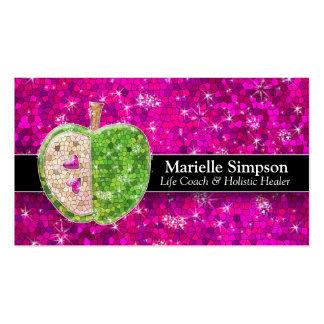 Hot Pink Glitter Apple Holistic Healer Nutrition Business Card Templates