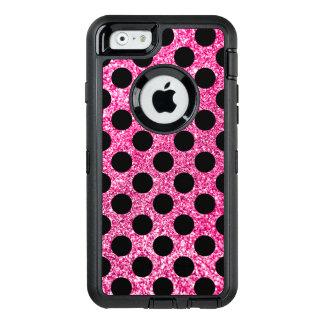 Hot Pink Glitter Black Polka Dots OtterBox Defender iPhone Case