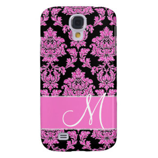 Hot pink glitter damask pattern on black, Monogram