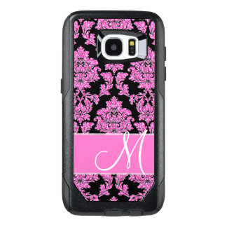 Hot pink glitter damask pattern on black, Monogram OtterBox Samsung Galaxy S7 Edge Case