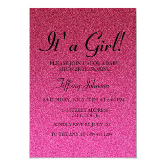 Hot Pink Glitter Faux its Girl Baby Shower Invite