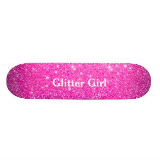 Hot Pink Glitter Girl Show Your Glamours Sparkle Skate Board Decks