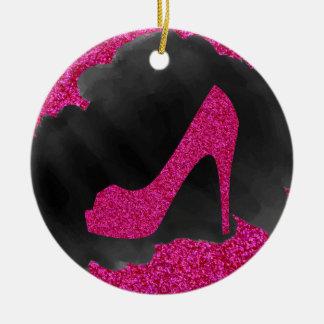 Hot Pink Glitter High Heels Black Ink Ceramic Ornament
