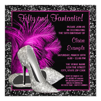 "Hot Pink Glitter High Heels Womans Birthday 5.25"" Square Invitation Card"