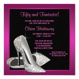 "Hot Pink Glitter High Heels Womans Birthday Party 5.25"" Square Invitation Card"
