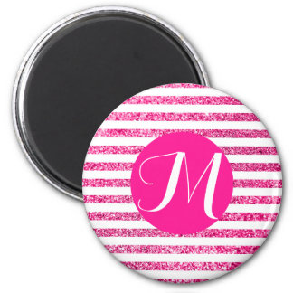 Hot Pink Glitter Horizontal Candy Stripes 2 Inch Round Magnet