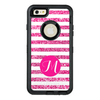 Hot Pink Glitter Horizontal Candy Stripes OtterBox Defender iPhone Case