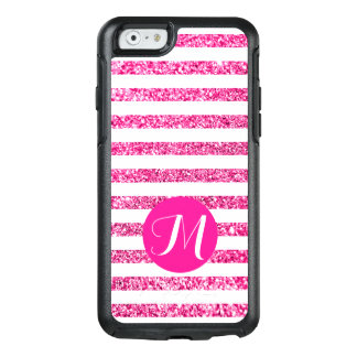 Hot Pink Glitter Horizontal Candy Stripes OtterBox iPhone 6/6s Case