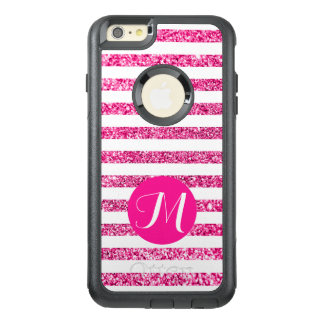 Hot Pink Glitter Horizontal Candy Stripes OtterBox iPhone 6/6s Plus Case