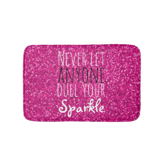 Hot Pink Glitter Inspirational Quote | Girly Bath Mat