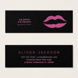 Hot pink glitter lips on black glam makeup artist mini business card