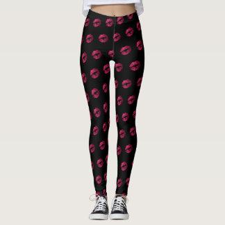 Hot Pink Glitter Lipstick Pattern Leggings