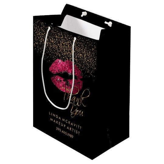 Hot Pink Glitter Lipstick - Thank You Medium Gift Bag