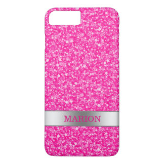 Hot Pink Glitter Pattern With Monogram iPhone 8 Plus/7 Plus Case