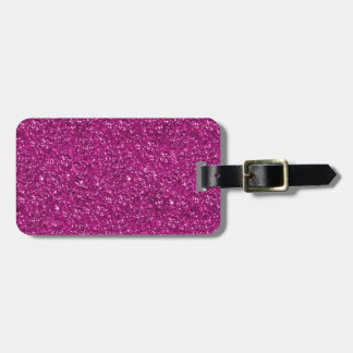 Hot Pink Glitter Print Luggage Tag