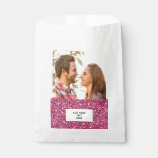 Hot Pink Glitter Printed Favour Bag