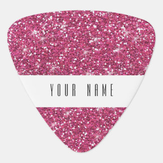 Hot Pink Glitter Printed Guitar Pick