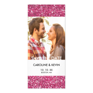 Hot Pink Glitter Printed Magnetic Invitations