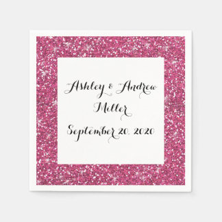 Hot Pink Glitter Printed Paper Napkin
