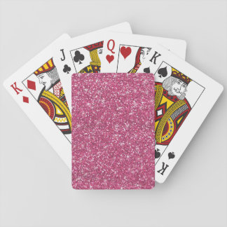 Hot Pink Glitter Printed Playing Cards