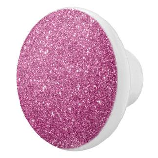Hot Pink Glitter Sparkles Ceramic Knob