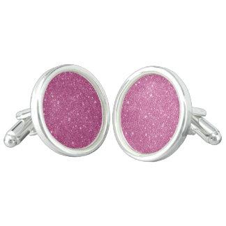 Hot Pink Glitter Sparkles Cufflinks