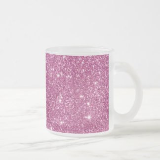 Hot Pink Glitter Sparkles Frosted Glass Coffee Mug