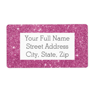 Hot Pink Glitter Sparkles Shipping Label