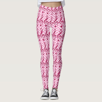 Hot Pink Glitter Treble Clef on Pink Chevron Leggings