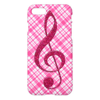 Hot Pink Glitter Treble Clef on Pink Plaid iPhone 7 Case