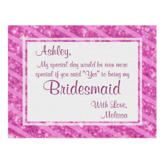 Hot Pink Glitter - Will You Be My Bridesmaid? Postcard